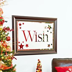 Frosty Mirror For the look of custom etched glass, cut out stenciled letters and stars, arrange them on a mirror using repositionable adhesive, cover the mirror frame, and apply frosted-glass spray. Christmas Holidays, Christmas Crafts, Christmas Decorations, Christmas Ideas, Merry Christmas, Holiday Decorating, Holiday Ideas, Decorating Ideas, Xmas