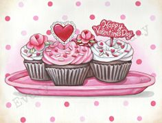 Vintage Inspired Valentine Cupcakes matted ready to frame print (fits 11x14 frame) by Everyday is a Holiday