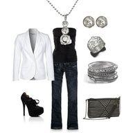 bluejeans, black t, white jacket, shoes, silver