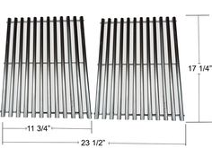 "REV527WES Stainless Steel Cooking Grids 7527, 7639, 9930 For Select Weber, Kalamazoo, Nexgrill, Kenmore Grill Models (Dims: 17 1/4 X 11 3/4"" For each unit, 17 1/4"" X 23 1/2"" For 2 units)"
