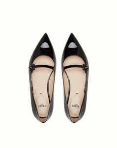 e593251a0675 FENDI BALLERINA - in black patent leather with flower - view 4 thumbnail