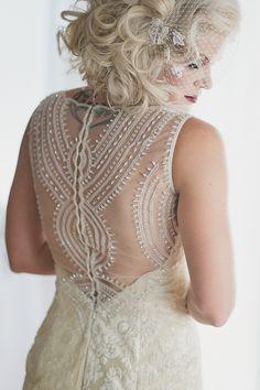 vintage wedding dress & I love the hair style.