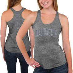 Washington Huskies Womens Breaking Hearts Tri-Blend Racerback Tank Top – Gray - $18.99