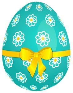 easter png | Sky Blue Easter Egg with Flowers and Yellow Bow PNG Picture