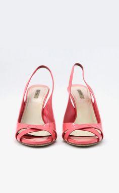 Miu Miu Fluorescent Pink Leather Slingback