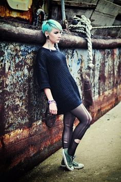 blue pixie cut! Quite the soft grunge look, black dress, ripped tights, converse