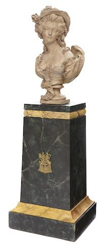 A French patinated terracotta bust of Mademoiselle Dugazon on Neoclassical style gilt bronze mounted faux marble pedestal 20th century