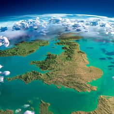 Exaggerated relief map of the United Kingdom and Ireland
