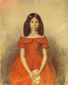 1846 Girl in red dress