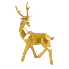 Alchemy Fine Home - A geometrical gold reindeer figurine for your holiday decor or modern mountain home. Mix a variety of sizes and with the white versions for a fun modern look. Contemporary Decorative Objects, Contemporary Sculpture, Atypical, Deer Ornament, Gold Home Accessories, Gold Home Decor, Christmas Room, Woodland Creatures, Joss And Main