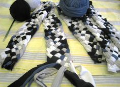 """Re Rag Rug: Braided rugs """" We experiment with braiding T-shirt strips  to reach the next rug will look. 