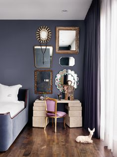 Have a few small mirrors lying around? Instead of using each in a different spot throughout your home, collect them in one place and display them as a group.