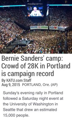 The massive crowds showing up to see Sanders are 10 to 50 times that of any other candidate, republican or democrat.