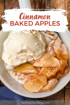 Baked Cinnamon Apples is a versatile dessert or side dish that can be served on its own or paired with ice cream, pancakes, and more! Fun Desserts, Delicious Desserts, Dessert Recipes, Baked Cinnamon Apples, Chewy Brownies, Side Dishes, Ice Cream, Tasty, Chocolate