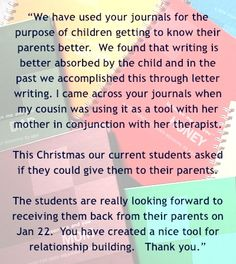 Love this email from a residential treatment center director using these unique journals. www.sanddunebooks.com
