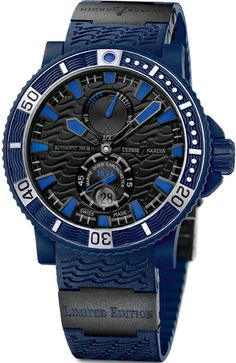 263-97LE-3C  NEW ULYSSE NARDIN MARINE BLUE SEA CHRONOMETER LIMITED EDITION MENS WATCH  IN STOCK   - FREE Overnight Shipping | Lowest Price Guaranteed    - NO SALES TAX (Outside California)- WITH MANUFACTURER SERIAL NUMBERS- LIMITED EDITION, Numbered XXX of 999 Pieces Ever Made! - Blue Dial - Power Reserve Indicator - Self Winding Automatic Chronometer Movement - Exhibition Back Case - 3 Year Warranty- Guaranteed Authentic- Certificate of Authenticity- Scratch Resistant Sapphire Crystal…