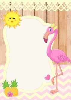 Decorating My Party: Invitation Flamingo free Flamingo Party, Flamingo Birthday, Minnie Birthday, Flamingo Cake, Hawaian Party, Flamingo Wallpaper, Baby Girl 1st Birthday, Baby Shower Invitaciones, Atelier