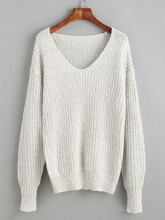 Pullover V-Ausschnitt Drop Schulter - hell grau- German SheIn(Sheinside)