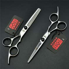 2Pcs/1 Pair 6 Inch Black KASHO Professional Human Hair Scissors Hairdressing Cutting + Thinning Shears Hair Styling Tools H1001