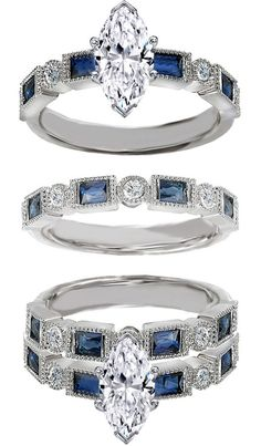 Marquise Cut Diamond Engagement Ring Blue Sapphire Accents & Matching Wedding Ring