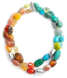 Simon Sebbag Double Strand Semiprecious Necklace available at Beaded Jewelry, Jewelry Bracelets, Handmade Jewelry, Diy Necklace, Gemstone Necklace, Ideas Joyería, Armband Diy, Jewelry Accessories, Jewelry Design