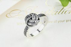 £16 - Ring, 925 Sterling Silver, Stacked, Sparkling Love Knot