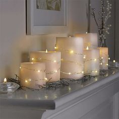 Bend the Copper Wire LED String Lights however you wish to add twinkle lights to your home. They look great wrapped around candles or intertwined on your banister! Lanterns Decor, Light Decorations, Passion Deco, Apollo Box, String Lights Outdoor, Arte Floral, Twinkle Lights, Deco Table, Holiday Lights