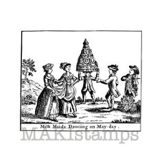 Invitation rubber stamp / Milkmaids dancing / by MAKIstamps, €6.80