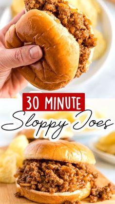 Homemade Sloppy Joe Recipe, Homemade Sloppy Joes, Sloppy Joes Recipe, Simple Sloppy Joe Recipe, Easy Sloppy Joes, Healthy Sloppy Joe Recipe, Meat Recipes, Crockpot Recipes, Cooking Recipes