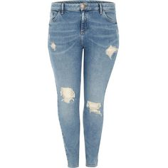 River Island Plus blue Amelie ripped super skinny jeans ($84) ❤ liked on Polyvore featuring jeans, plus size distressed skinny jeans, distressed skinny jeans, ripped jeans, torn skinny jeans and zipper skinny jeans