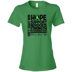 Kidney Cancer Hope Support Advocate Women's Fashion T-Shirt - Green Apple   Cancer Shirts   Disease Apparel   Awareness Ribbon Colors