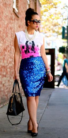 graphic #glam blue #sequin skirt and white print tee #outfit