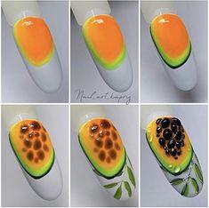 Fruit Nail Designs, Flower Nail Designs, Simple Nail Art Designs, Neon Nails, Diy Nails, Swag Nails, Funky Nail Art, Floral Nail Art, Fruit Nail Art