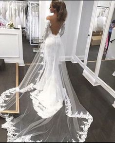 Open Back Mermaid Fashion Tailored wedding dress with long sleeves - Brautkleid a linie - Wedding dresses Long Sleeve Wedding, Wedding Dress Sleeves, Dream Wedding Dresses, Bridal Dresses, Wedding Gowns, Lace Wedding, Wedding Venues, Lace Sleeves, Rustic Wedding