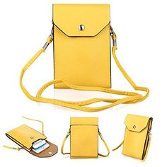 """Bsoam Simple Stylish Crossbody Cell Phone Bag Premium PU Leather Cellphone Case Cover Mini Shoulder Sling Pouch Girls Purse for Apple iPhone 6 Plus iPhone 6/5S/5C/4S Samsung Galaxy S3/S4/S5 HTC One M7 M8 Nokia Google Blackberry Mobiles and other Smartphones Under 5.5"""" (c Yellow)"""