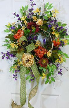 "XL Fall Wreath ""Shades of Autumn"" with a Large Chevron Burlap Bow Wreaths For Sale, Door Wreaths, Grapevine Wreath, Chevron Bow, Chevron Burlap, Red Sunflowers, Floral Wreaths, Autumn Wreaths, Wreath Ideas"
