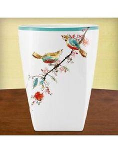 Lenox Chirp Waste Basket: This waste basket, with a nature scene reminiscent of a watercolor painting, is truly a work of art. A generous turquoise band brings an additional burst of color to the piece. Everyday Table Decor, Mint Green Bathrooms, Trash And Recycling Bin, Wedding China, Bath Design, Kitchen And Bath, Tissue Holders, Bathroom Accessories, Basket