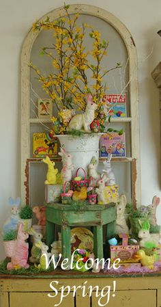 SPRING Booth Transition - Part 3 Lovely easter rabbit display - holiday decor wall with Easter in one place rather than all over Antique Booth Displays, Antique Booth Ideas, Vintage Display, Hoppy Easter, Easter Bunny, Spring Window Display, Window Displays, Shop Displays, Diy Ostern