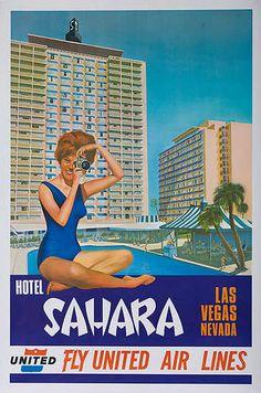 Hotel Sahara, Las Vegas, Nevada | Fly United Air Lines (1960s)