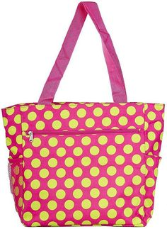 World Traveler Polka Dot Travel Tote Bag, Pink and Green -- Continue to the product at the image link. (This is an Amazon Affiliate link and I receive a commission for the sales)