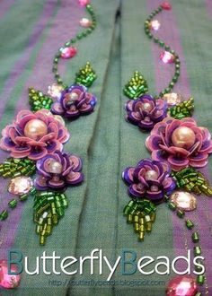 Hand-made motif with pink sequins flowers and beaded leaves - Salvabrani Pearl Embroidery, Tambour Embroidery, Hand Work Embroidery, Couture Embroidery, Bead Embroidery Jewelry, Bead Embroidery Tutorial, Border Embroidery Designs, Bead Embroidery Patterns, Embroidery Stitches