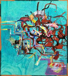Joanne Greenbaum, Untitled, oil and ink on canvas 90 x 80 inches Museum Of Contemporary Art, Contemporary Paintings, Modern Art, Kunsthistorisches Museum, Unusual Art, Aqua, Turquoise, Museum Of Fine Arts, Op Art