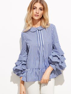 This top combines two major trends of summer + dramatic sleeves Hijab Fashion, Fashion Outfits, Womens Fashion, Fashion Trends, Casual Dresses, Casual Outfits, Hijab Style, Mode Chic, Peplum Blouse