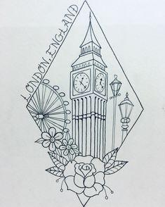London tattoo. Travel tattoo. Big Ben tattoo.