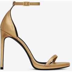 Saint Laurent Classic Jane 105 Ankle Strap Sandal In Dark Gold Grained... ($895) ❤ liked on Polyvore