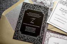 Black, Silver & Gold Wedding Invitation, Silver Glitter Wedding Invite, Purple Invitation, Swirl Pattern - Deposit to Get Started