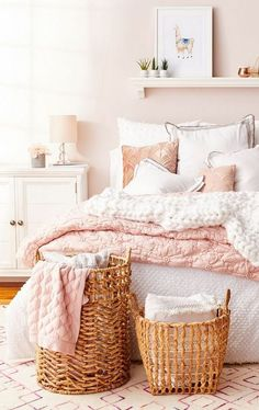 Your dreams will be pretty in Millennial pink with bedding in blush pink & bright white. Natural woven baskets add a warm, earthy touch to the flirty palette. Discover dreamy bedding at a HomeSense near you! Woman Bedroom, Girls Bedroom, Pink Bedrooms, Dream Rooms, Dream Bedroom, Master Bedroom, Pink Room, Blush Pink Bedroom, White And Pink Bedding