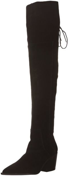 Aldo Women's HASKOVA Laced Over The Knee Boot, Black Suede, 8 B US