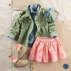 Toddler Girl Utility Jacket from OshKosh B'gosh. Shop clothing & accessories from a trusted name in kids, toddlers, and baby clothes. Baby Outfits, Outfits Niños, Cute Outfits For Kids, Toddler Outfits, Stylish Toddler Girl, Toddler Girl Style, Toddler Fashion, Kids Fashion, Toddler Girls