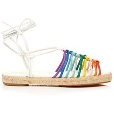 Chloé Leather espadrille sandals (€415) ❤ liked on Polyvore featuring shoes, sandals, leather ankle strap sandals, white ankle strap sandals, braided sandals, braided rainbow sandals and caged sandals